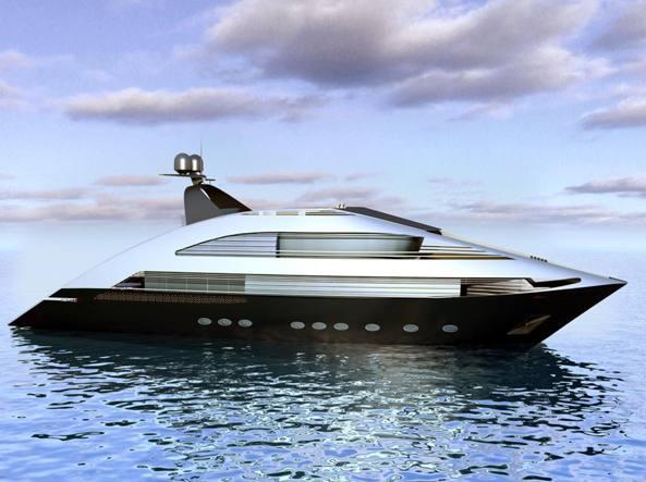 Uno yacht di lusso presentato al Seatec, a Carrara