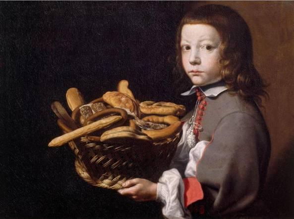 Tra i dipinti esposti, «Ragazzo con canestra di pane e dolciumi»