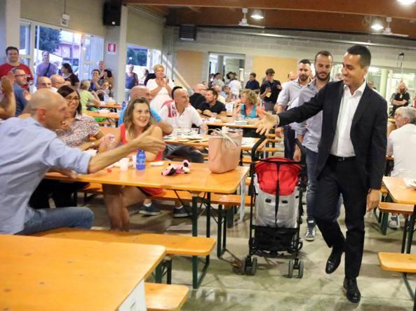 Il vicepresidente della Camera Luigi Di Maio ospite lo scorso luglio alla festa del M5S a Ghisalba