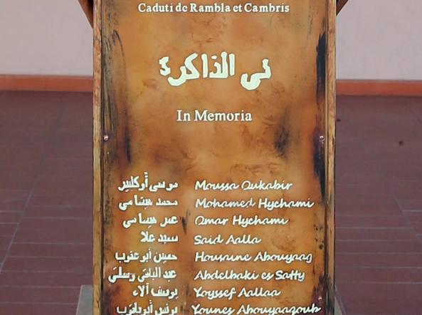 Il monumento dedicato ai terroristi autori dell'attentato alla Rambla di Barcellona dello scorso 17 agosto
