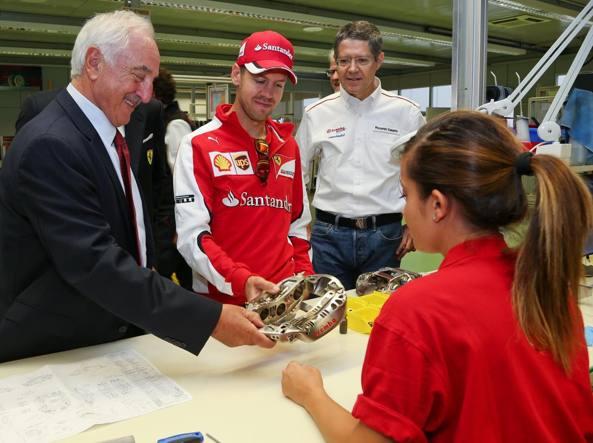 Alberto Bombassei alla Brembo con Sebastian Vettel