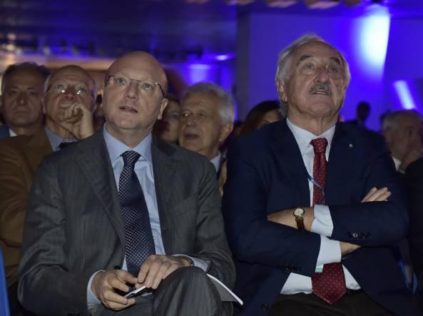 Il numero uno di Confindustria Vincenzo Boccia e il presidente di Brembo Alberto Bombassei