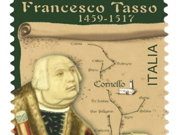Il francobollo per Francesco Tasso, da Camerata Cornello