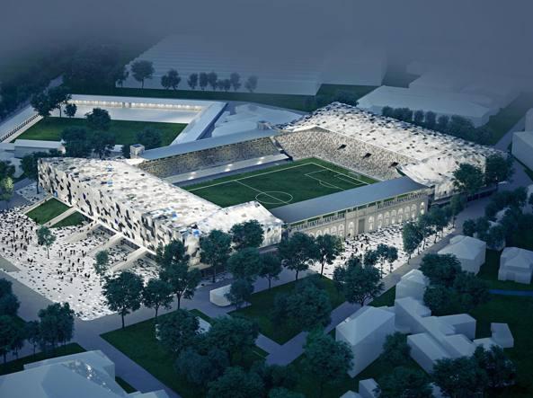 Il rendering dello stadio di Bergamo rimesso a nuovo