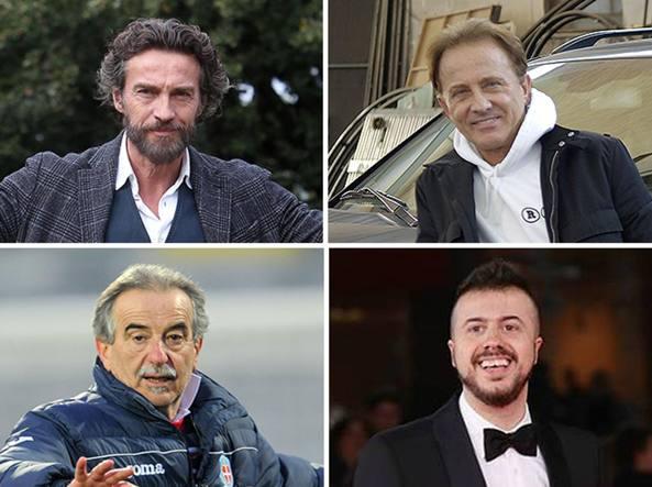 A sinistra in alto, Alessio Boni. Poi, in senso orario: Roby Facchinetti, Andrea Mastrovito ed Emiliano Mondonico
