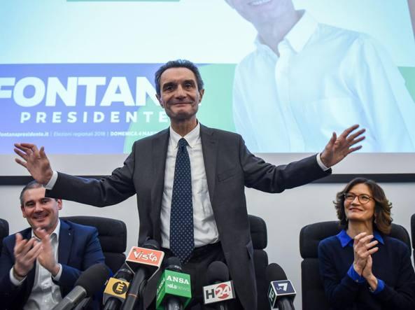 Attilio Fontana tra Paolo Grimoldi (Lega) e Maria Stella Gelmini (Forza Italia)